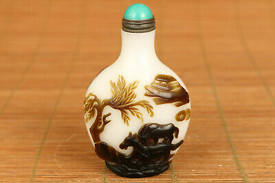 chinese old coloured glass hand carved horse snuff bottle