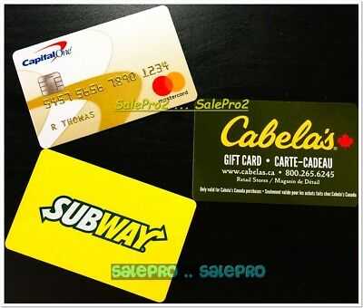 3x CAPITAL ONE - CABELA'S - SUBWAY ALWAYS FRESH FOOD COLLECTIBLE GIFT CARD LOT