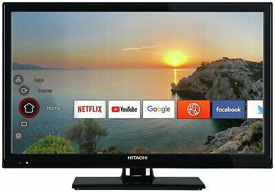 Hitachi 24 Inch HD Ready 720p Freeview Play Smart WiFi LED TV/DVD Combi - Black.
