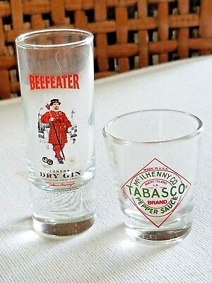 Tabasco Sauce Shot Glass Beefeater Dry Gin 2 oz Shooter Lot of 2 Barware