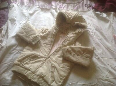 M&S Marks Spencer 6 7y Girls Beige Hoody Zip Jacket Warm Lined VGC BARGAIN