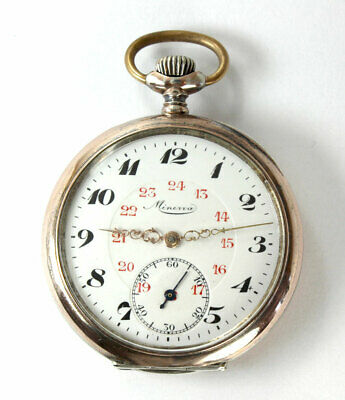Antike Minerva 800 Silber TASCHENUHR swiss OF Pocket WATCH ca. 1920