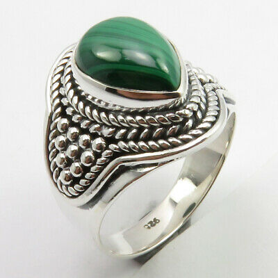Green Malachite Antique Look Ring Size 6.5 6.9 Gms Sterling Silver Fashion Gift
