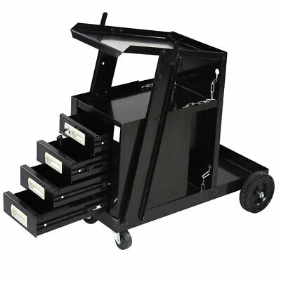 100lbs Bearing Capacity 4 Drawers Portable Wheels Steel Welding Cart Black New