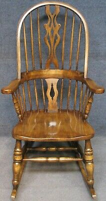 Period Style Solid Elm Windsor Rocking Chair