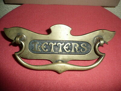 Antique Victorian Reclaimed Brass Letter Box Plate with Doorknocker,England made