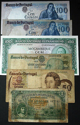 Portugal 1985,6 notes 100 Escuda UNC,nice collection G/Vg/UNC