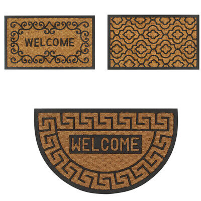 Heavy Duty Half Moon Rectangular Coir Rubber Doormat Indoor Outdoor Door Mat New