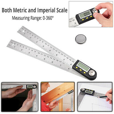 8 Inch Digital Angle Finder Ruler Stainless Steel Protractor 0-360°+ Hold button