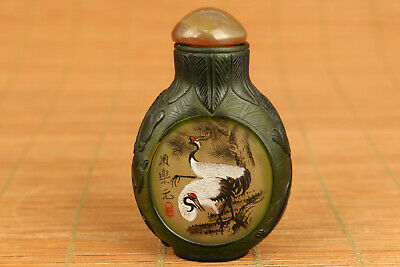 Antiques chinese glaze hand carving red-crowned crane statue snuff bottle gift