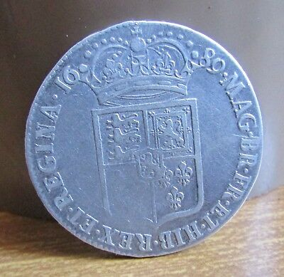 1689 Silver King William & Queen Mary 2/6d Half Crown Coin - 1st Reverse
