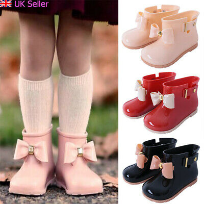 Girls Kids Infant Toddler Children Bowknot Non-Slip Wellington Rain Boots Shoes