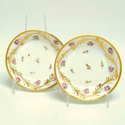 Pair (2) Antique French Le Courtille Small Bowls, Flowers & Gold Gilt, Signed