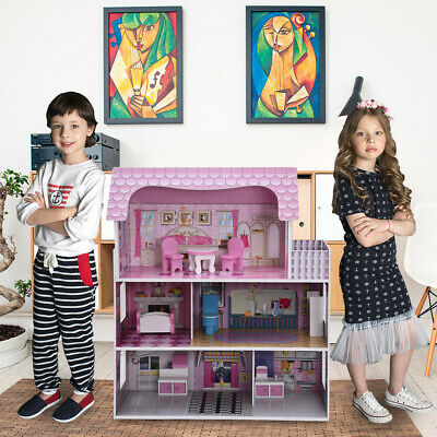 Wooden Open Dollhouse Doll House Kids Girls Toy For Dolls w/ 5 Rooms, Accessorie