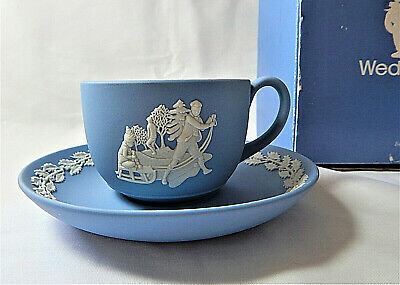 Wedgwood Blue Cup and Saucer Victorian Traditions 1992 Sledging Jasper Boxed
