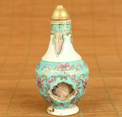 two-double Rare old porcelain secret appointment snuff bottle noble gift