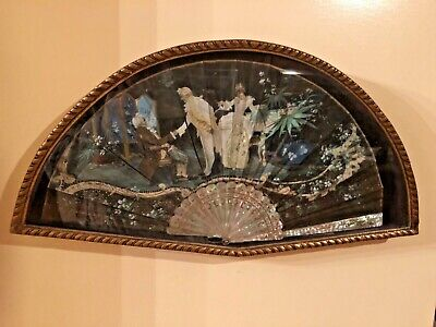Antique hand paintd  folding fan 19th century in shadow box, mother of pearl han
