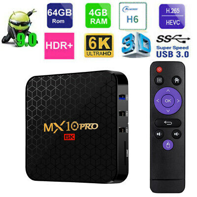 MX10 PRO TV Box Android9.0 Quad-Core CPU UHD 4K Media Player 6K 4+32GB/64GB T9O6