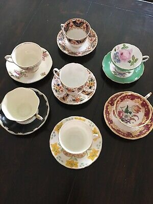 Tea cups and saucers vintage fine bone China unique Lot Of 7