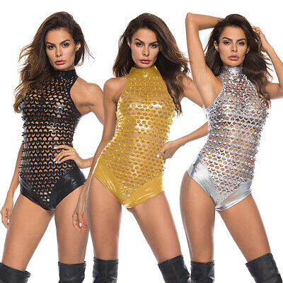 Women's Metallic Shiny Hollow Out PVC Leather Wet Look Bodysuit Catsuit Costume
