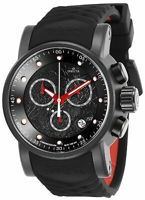 Invicta 28186 S1 Rally Men's 48mm Chronograph Black-Tone Black Dial Rubber Watch