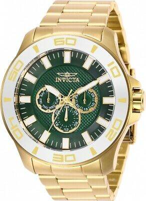 Invicta 28223 Pro Diver Men's 50mm Chronograph Gold-Tone Green Dial Watch