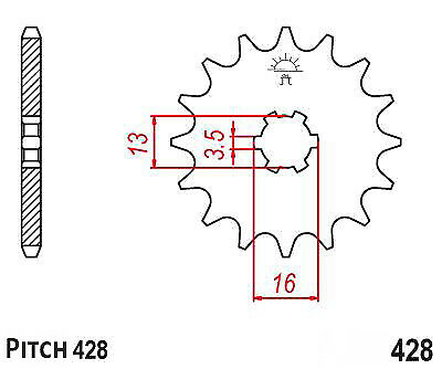 Hendler Front Sprocket 12 Teeth (428-12) Suzuki GT 80 E X3E 1981-1983