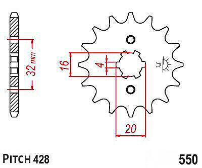Hendler Front Sprocket 15 Teeth (1550-15) Yamaha YZF-R 125 2008-2016