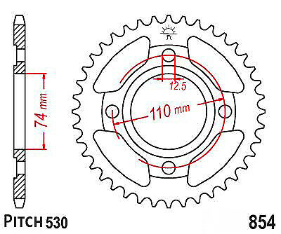Hendler Rear Sprocket 38 Teeth (854-38) Yamaha RD 250 1978-1979