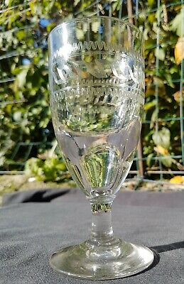 Ancien Grand Verre Bistrot Absinthe Verre Oeuf Souffle Guilloche Portieux 1900