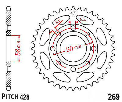 Hendler Rear Sprocket 45 Teeth (269-45) Honda MSX 125 2013-2016