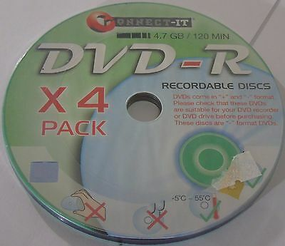 Connect-IT DVD-R, Recordable Discs, 4.7 GB / 120 Minutes - Pack of Four