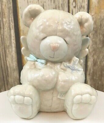Praying Teddy Bear Angel Wing Coin Bank Piggy Bank Holding A Cross Blue Bow