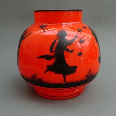 Art Deco Tango Silhouette Vase ~ Dancing Girls & Dragonfly ~ Antique Loetz