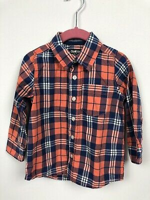 OshKosh Boys 3T Button Down Shirt Plaid Toddler 100% Cotton