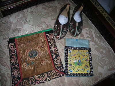 Lot Of 3 Antique Chinese Embroidered Silk Textiles,  Child's Shoes, 2 Purses