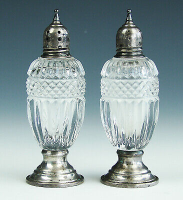 Antique Vtg Sheffield Silver Co. Sterling Silver Glass Salt and Pepper Shakers
