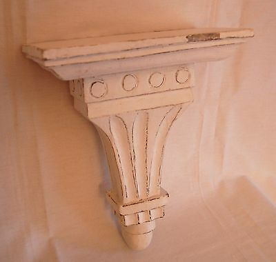 Architectural wall shelf, wood, painted white - ANTIQUE - ready to hang