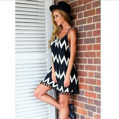 Summer Boho Women Wave Stripe Backless Strappy Tassel Short Slip Dress Sundress
