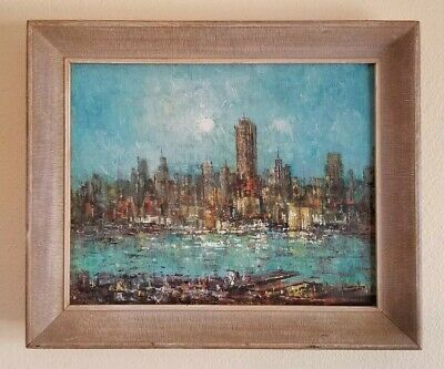 Vintage Mid Century Modernism Cityscape Harbor Bay Landscape Abstract Painting
