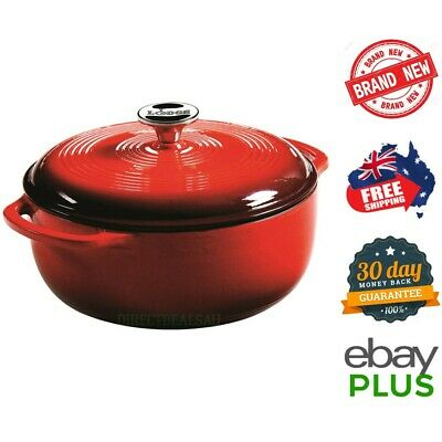 "Lodge 4.5Q 10"" Enamel Cast Iron Dutch Oven Casserole Pot Island Spice Red *NEW*"
