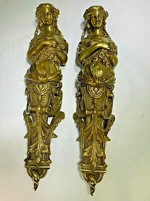 Antique French (2) Bronze Furniture Mount or Door Pushes Solid Lady Figurines