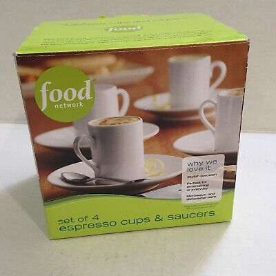 Food Network Set of 4 Espresso Cups & Saucers Solid White Porcelain NEW BOX