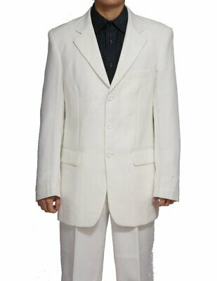 Men's Single Breasted Cream (Soft White) Three Button Dress Suit