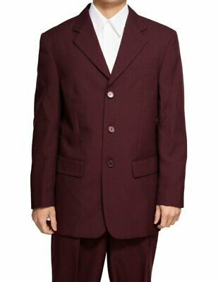 Men's Single Breasted Burgundy / Maroon (Deep Red) Three Button Dress Suit