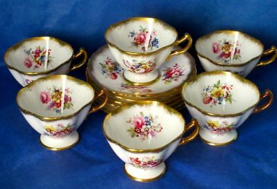 Hammersley Exquisite LADY PATRICIA Vintage Set of 6 Demitasse Cup & Saucer