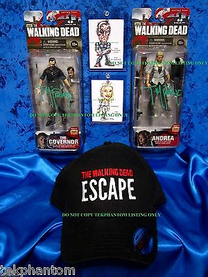 Walking dead Todd McFarlane Signed Figures Governor Andrea Art Card Escape Hat