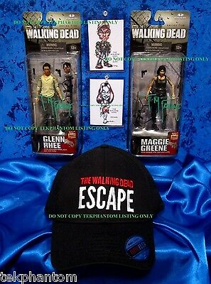Walking dead Todd McFarlane Signed Figures Glenn Maggie Art Cards Escape Hat