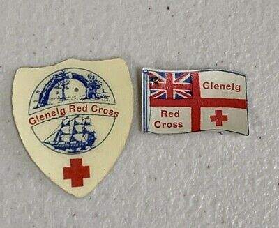 2 WW2 Glenelg Red Cross Appeal Day Pin Badges