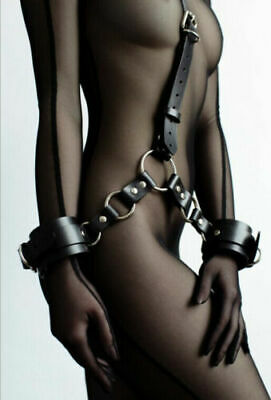 Lockable Wrist to Neck Cuffs Chain Collar Handcuff Leash Set Sexy Restraint
